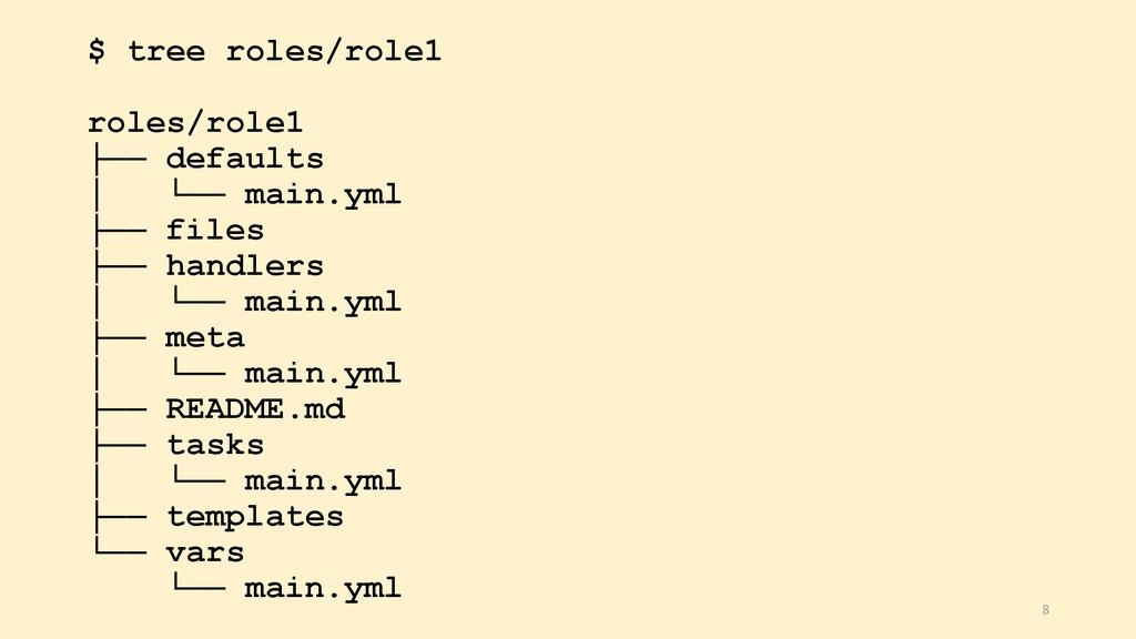 $ tree roles/role1 roles/role1 ├── defaults │ └...
