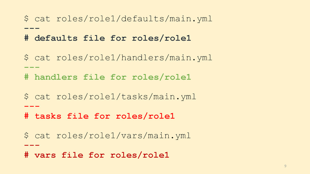 $ cat roles/role1/defaults/main.yml --- # defau...