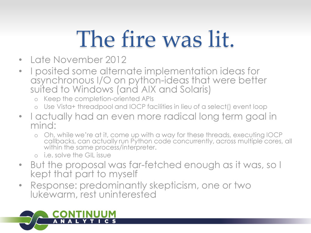 The fire was lit. • Late November 2012 • I posi...