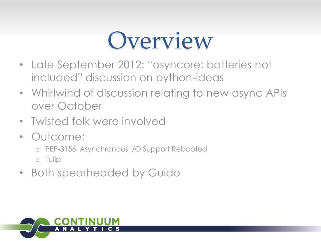 """Overview • Late September 2012: """"asyncore: batt..."""