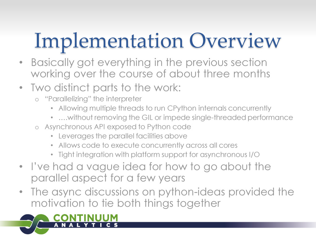 Implementation Overview • Basically got everyth...