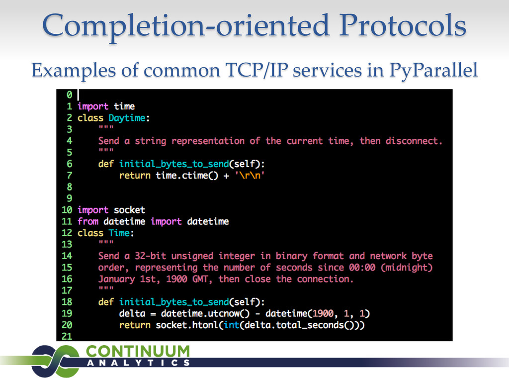 Completion-oriented Protocols Examples of commo...