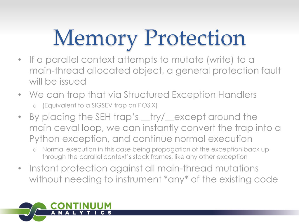Memory Protection • If a parallel context attem...