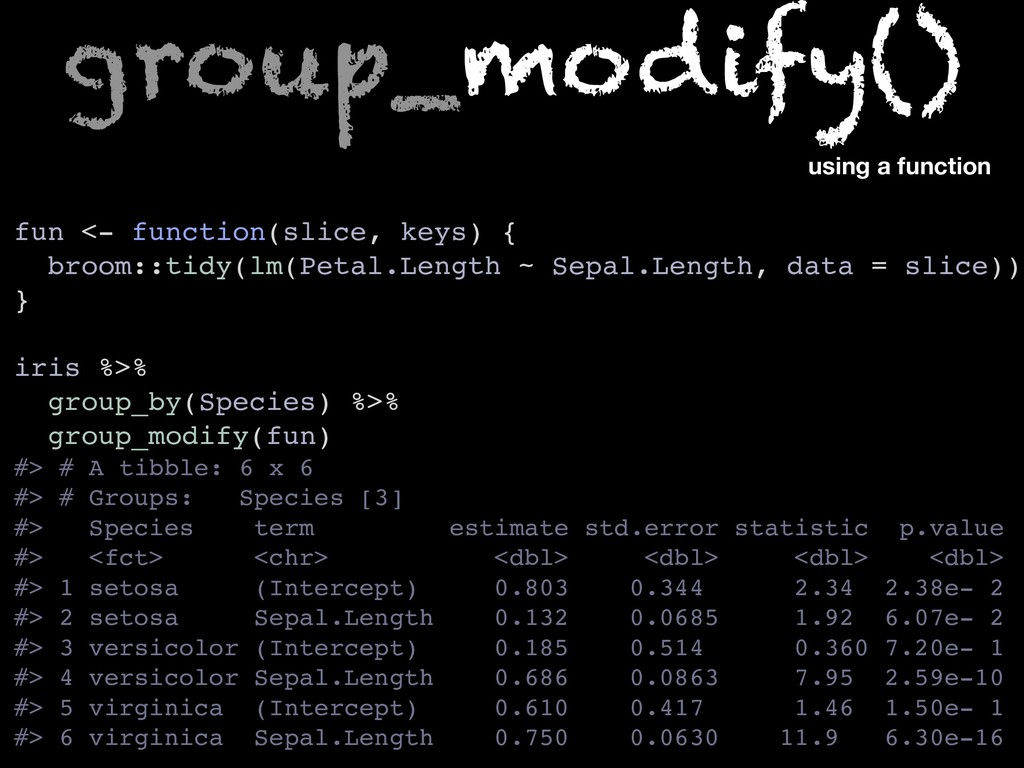 fun <- function(slice, keys) { broom::tidy(lm(P...
