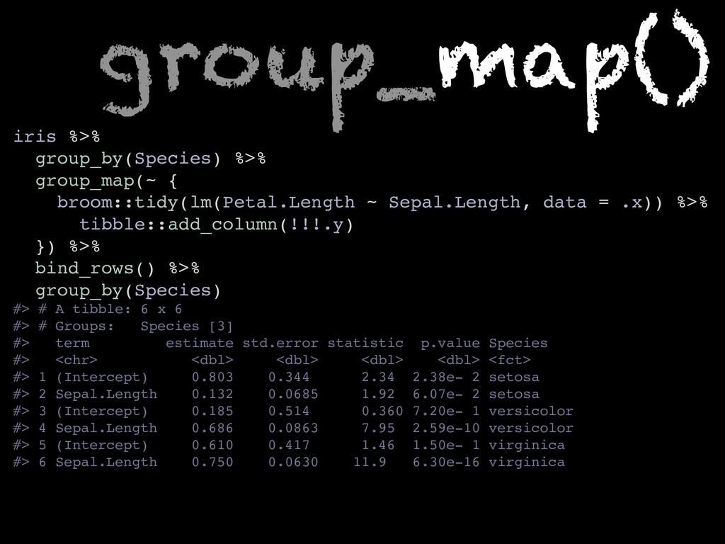 iris %>% group_by(Species) %>% group_map(~ { br...
