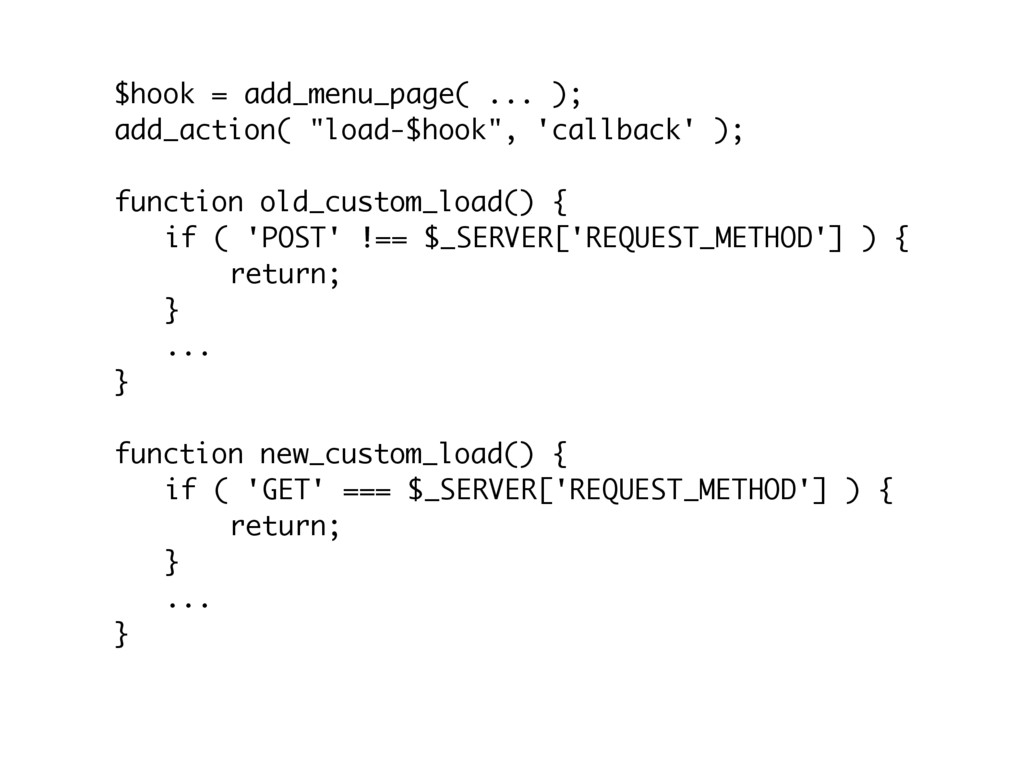 "$hook = add_menu_page( ... ); add_action( ""load..."