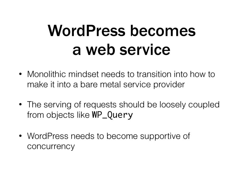 WordPress becomes a web service • Monolithic mi...
