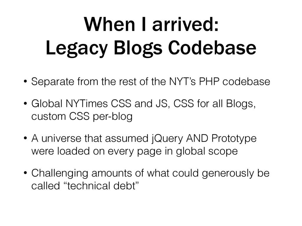 When I arrived: Legacy Blogs Codebase • Separat...