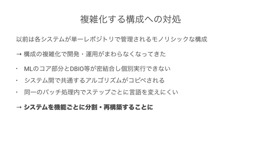 ෳԽ͢Δߏͷରॲ Ҏલ֤γεςϜ͕୯ҰϨϙδτϦͰཧ͞ΕΔϞϊϦγοΫͳߏ → ߏ...