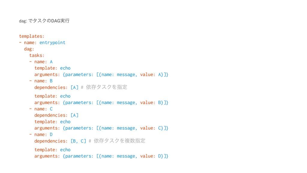 dag: ͰλεΫͷDAG࣮ߦ templates: - name: entrypoint d...