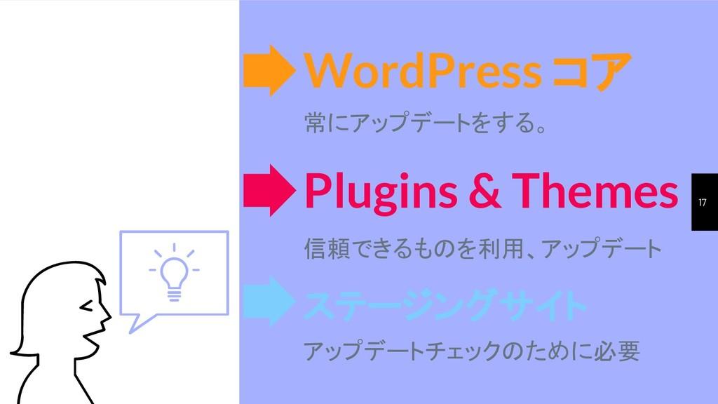 17 WordPress コア 常にアップデートをする。 ステージングサイト アップデートチェ...