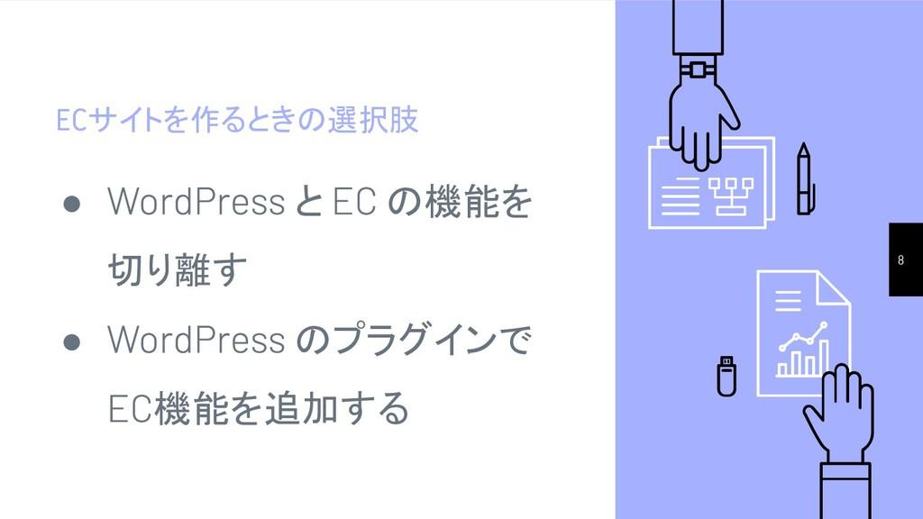 ECサイトを作るときの選択肢 8 ● と の機能を 切り離す ● のプラグインで 機能を追加する