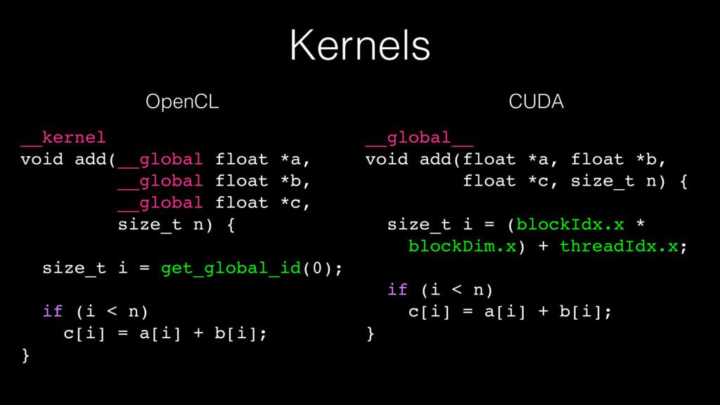 Kernels __kernel void add(__global float *a, __...