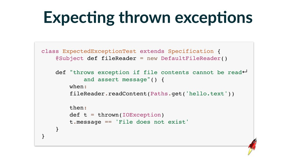 class ExpectedExceptionTest extends Specificati...