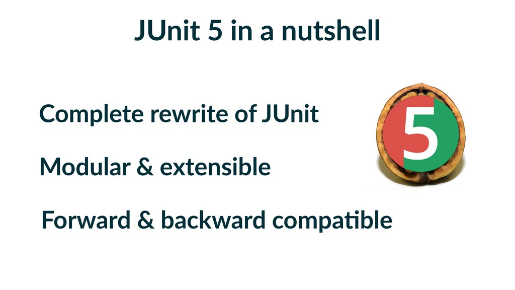 JUnit 5 in a nutshell Complete rewrite of JUnit...