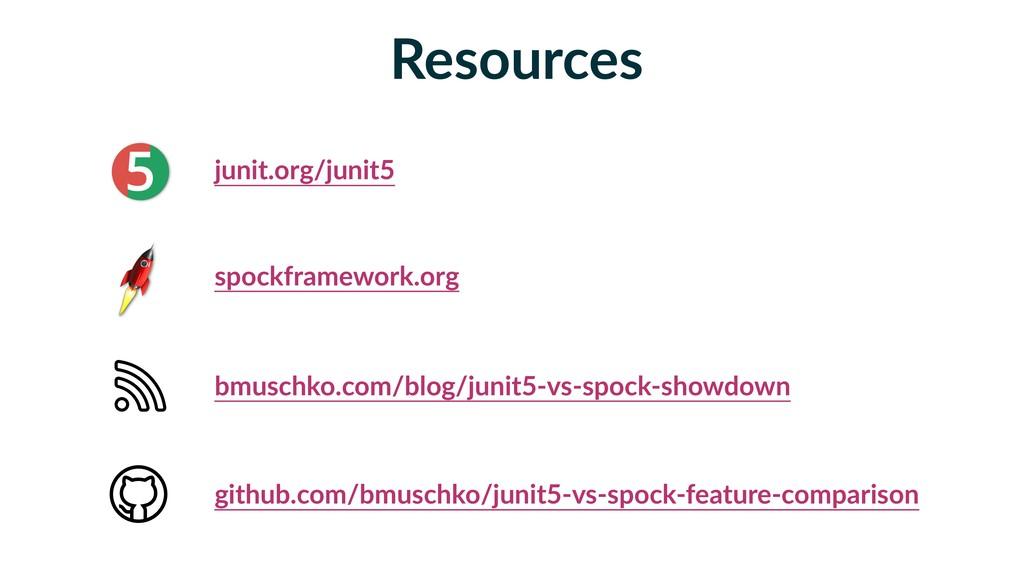 Resources junit.org/junit5 spockframework.org b...
