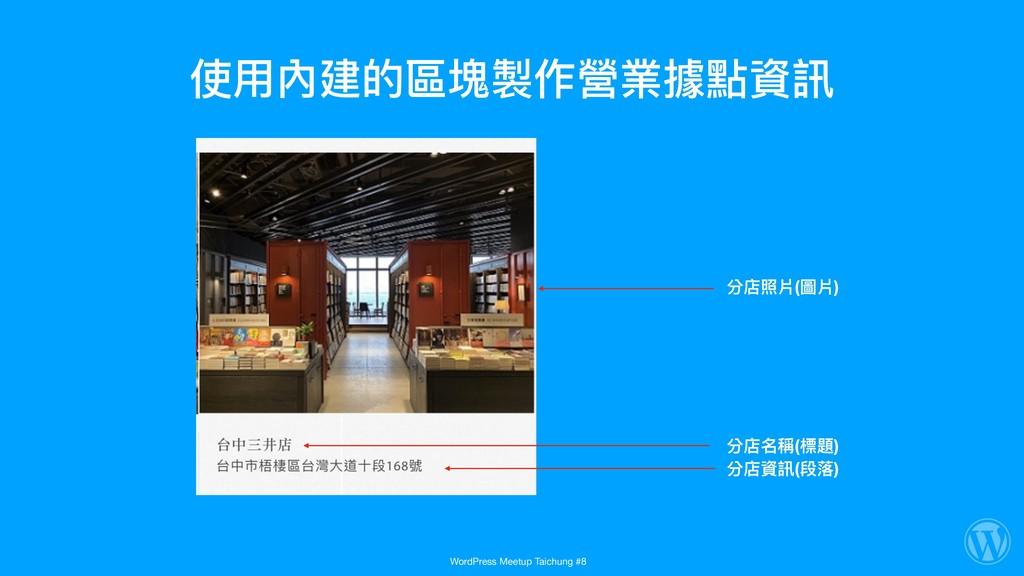 使⽤用內建的區塊製作營業據點資訊 分店照片(圖片) 分店名稱(標題) 分店資訊(段落落) Wo...