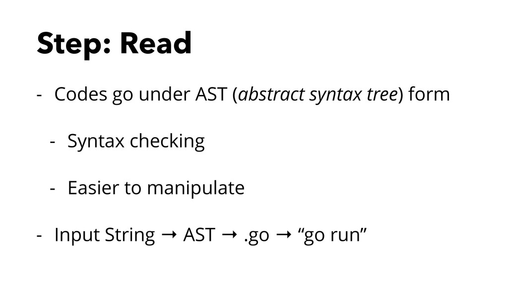 Step: Read - Codes go under AST (abstract synta...