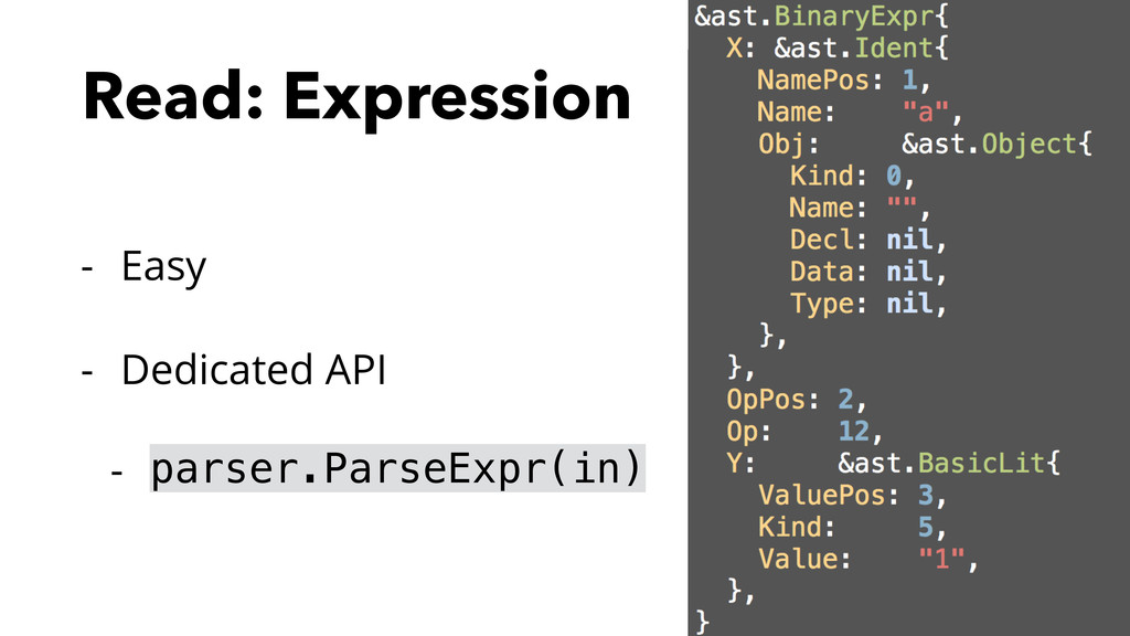 Read: Expression - Easy - Dedicated API - parse...
