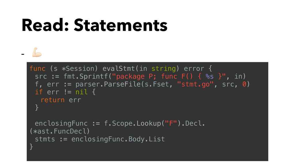 Read: Statements - $ func (s *Session) evalStmt...