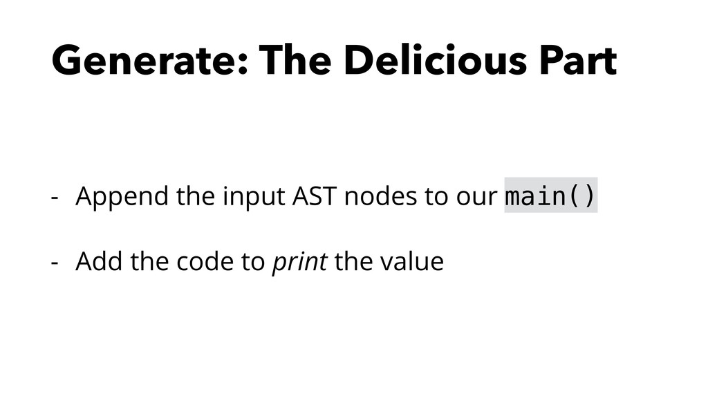 Generate: The Delicious Part - Append the input...