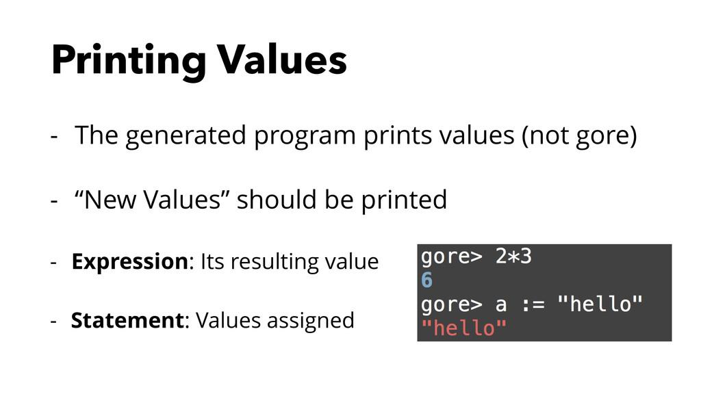 Printing Values - The generated program prints ...