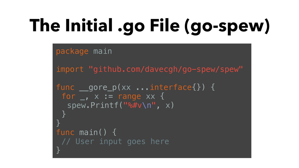 The Initial .go File (go-spew) package main imp...
