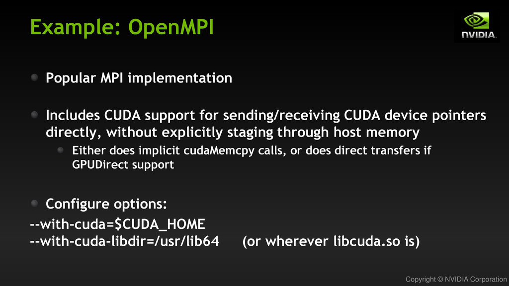 Copyright © NVIDIA Corporation Example: OpenMPI...