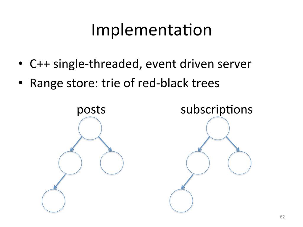 ImplementaGon  • C++ single-‐threaded,...