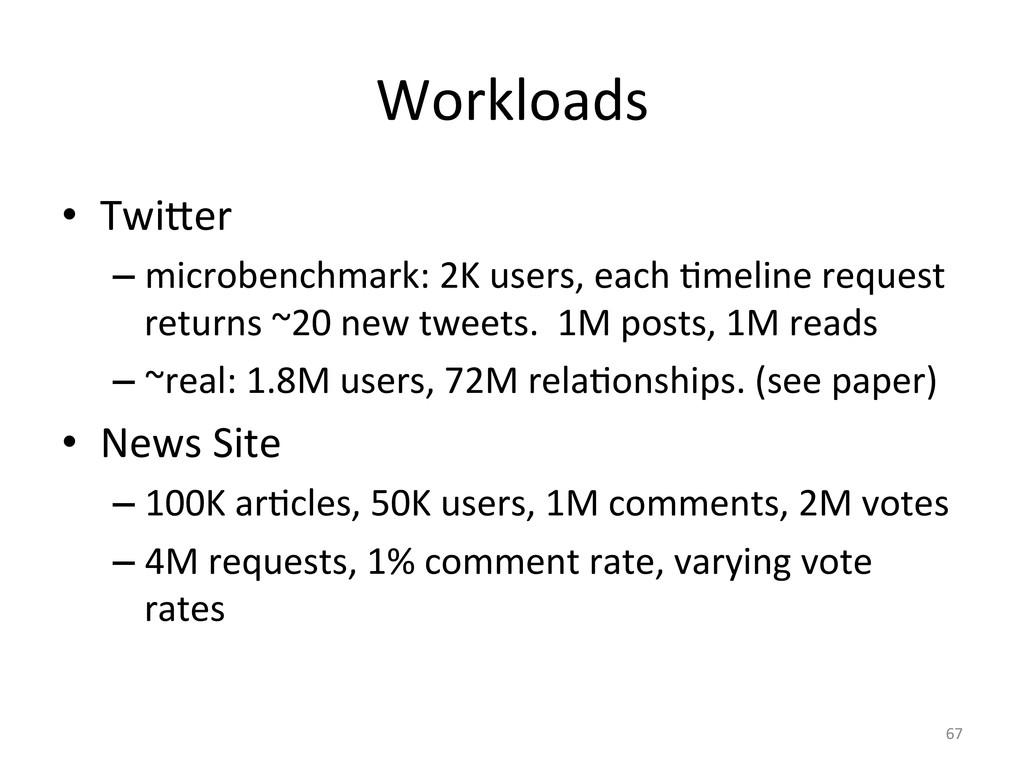 Workloads  • Twi]er   –microbenchmar...