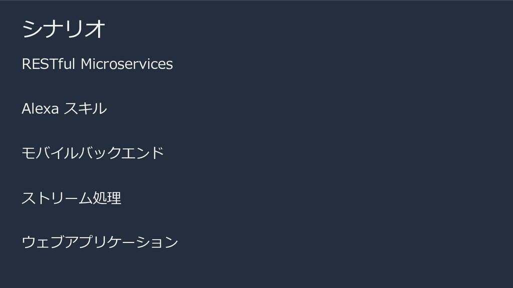 シナリオ RESTful Microservices Alexa スキル モバイルバックエンド...