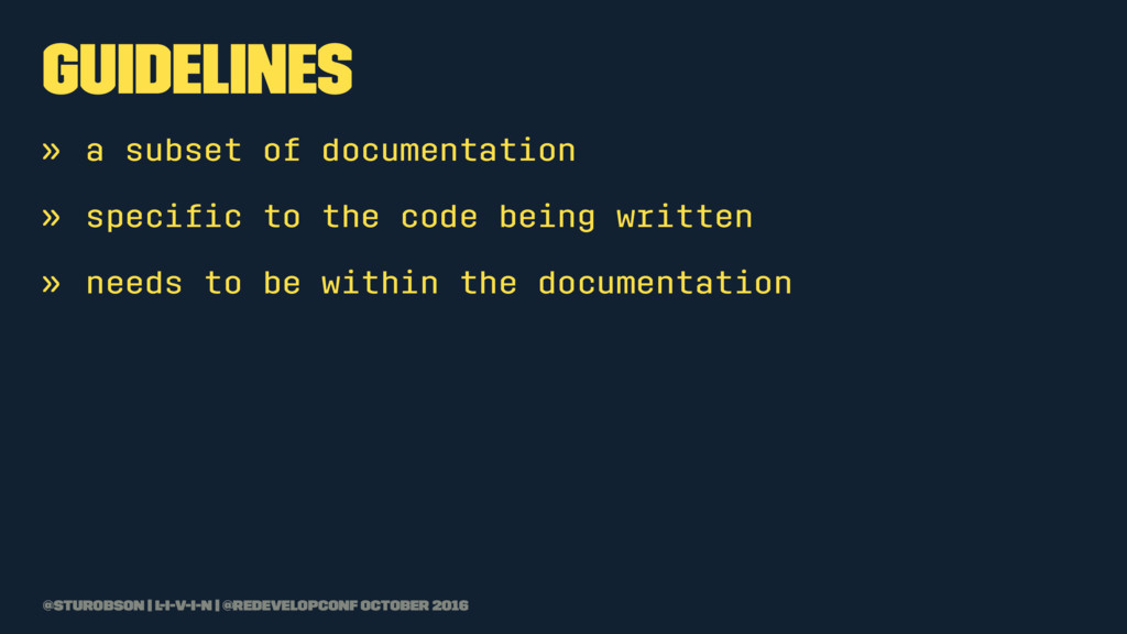 guidelines » a subset of documentation » specifi...