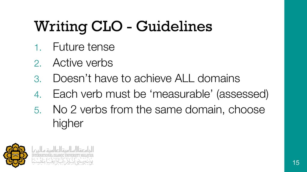 Writing CLO - Guidelines 1. Future tense 2. Act...