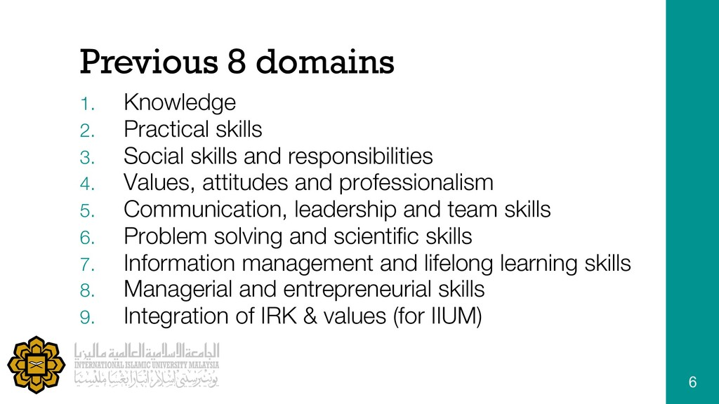 Previous 8 domains 1. Knowledge 2. Practical sk...