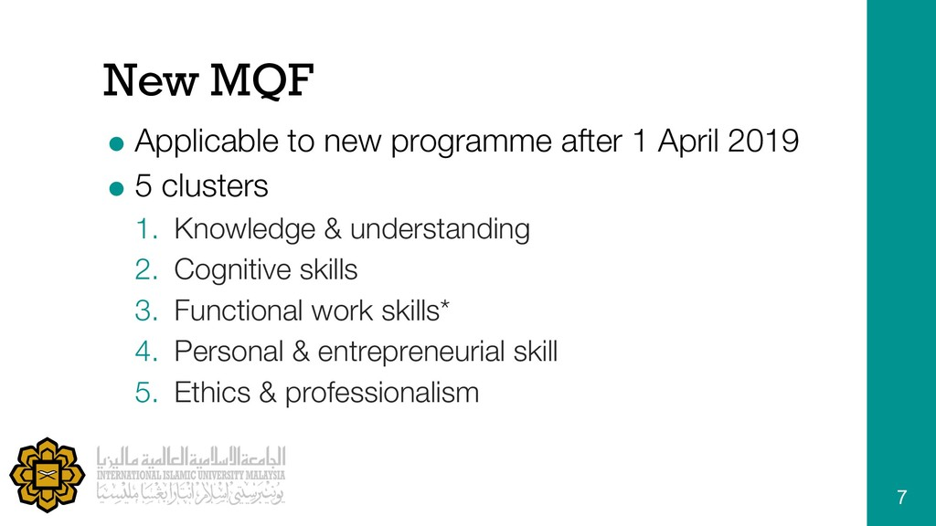 New MQF = Applicable to new programme after 1 A...