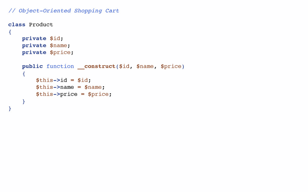 // Object-Oriented Shopping Cart class Product ...