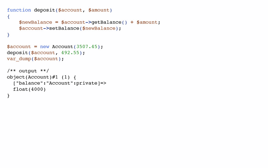 function deposit($account, $amount) { $newBalan...
