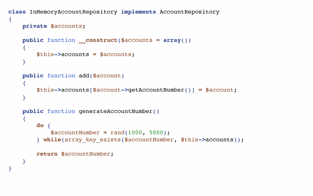 class InMemoryAccountRepository implements Acco...