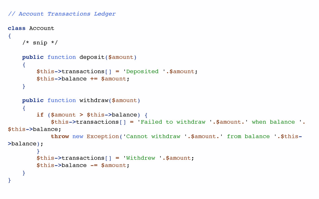 // Account Transactions Ledger class Account { ...