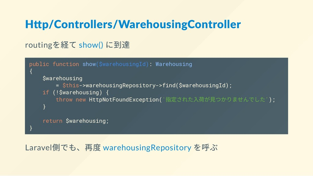 H p/Controllers/WarehousingController routing を...