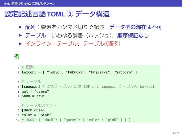 llmk: ৽ͷ L ATEX จॻϏϧυπʔϧ ઃఆهड़ݴޠ TOML ᶅ σʔλߏ ...