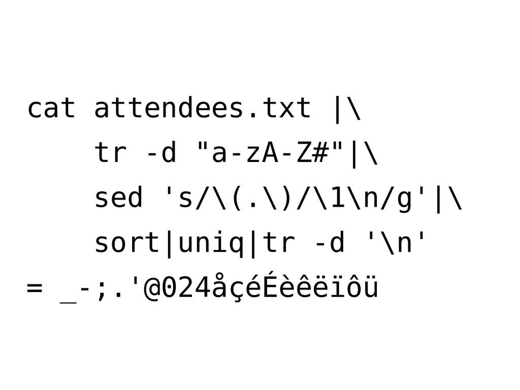 "cat attendees.txt |\ tr -d ""a-zA-Z#""|\ sed 's/\..."