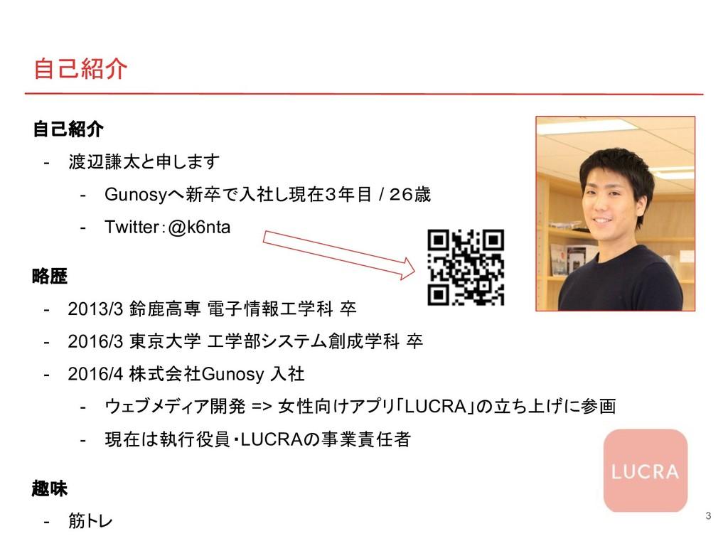 自己紹介 自己紹介 - 渡辺謙太と申します - Gunosyへ新卒で入社し現在3年目 / 26...