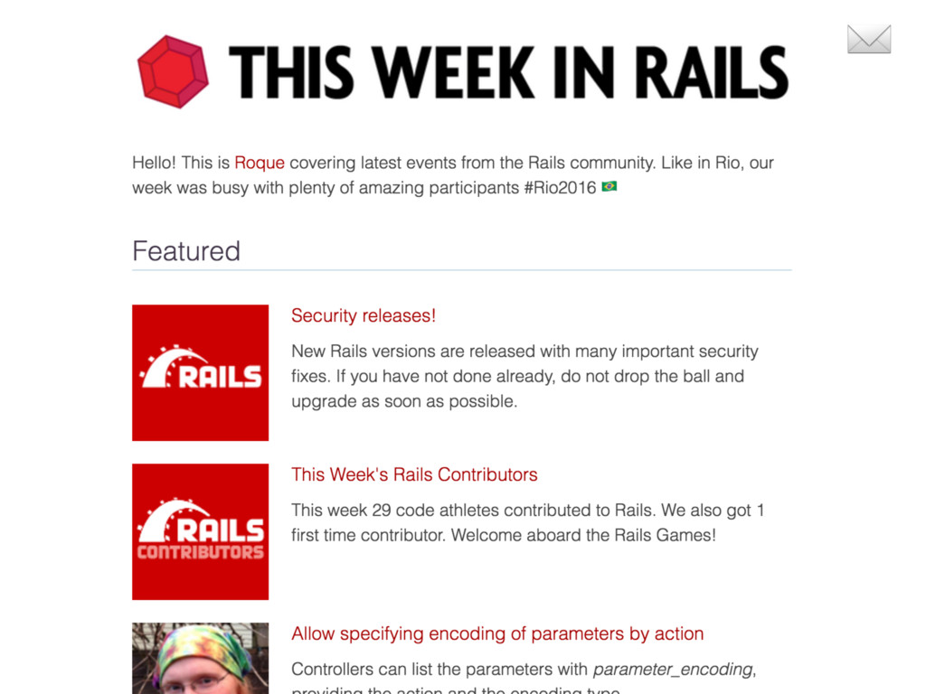 This Week in Rails rails-weekly. ongoodbits.com...