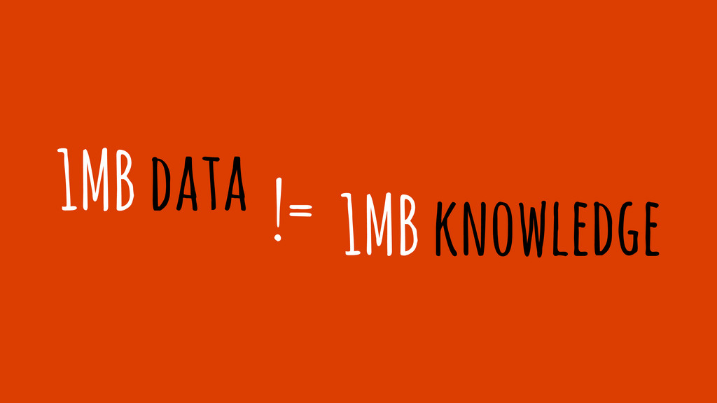 1MB data != 1MB knowledge