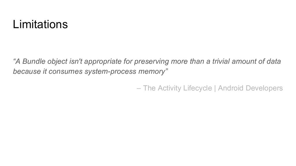 "Limitations ""A Bundle object isn't appropriate ..."