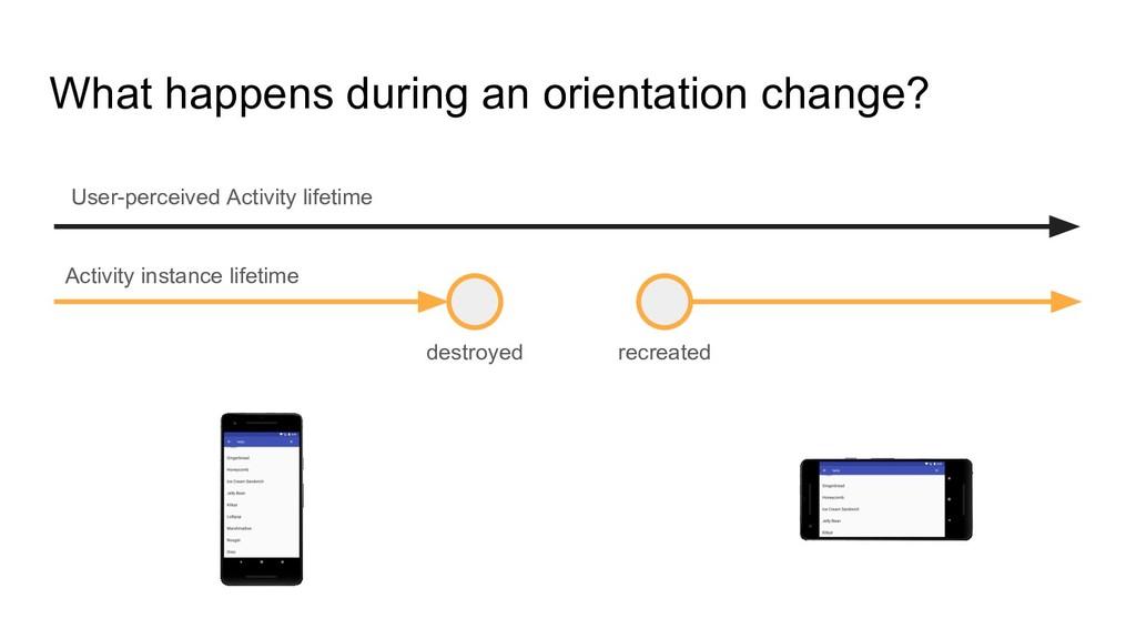 What happens during an orientation change? dest...
