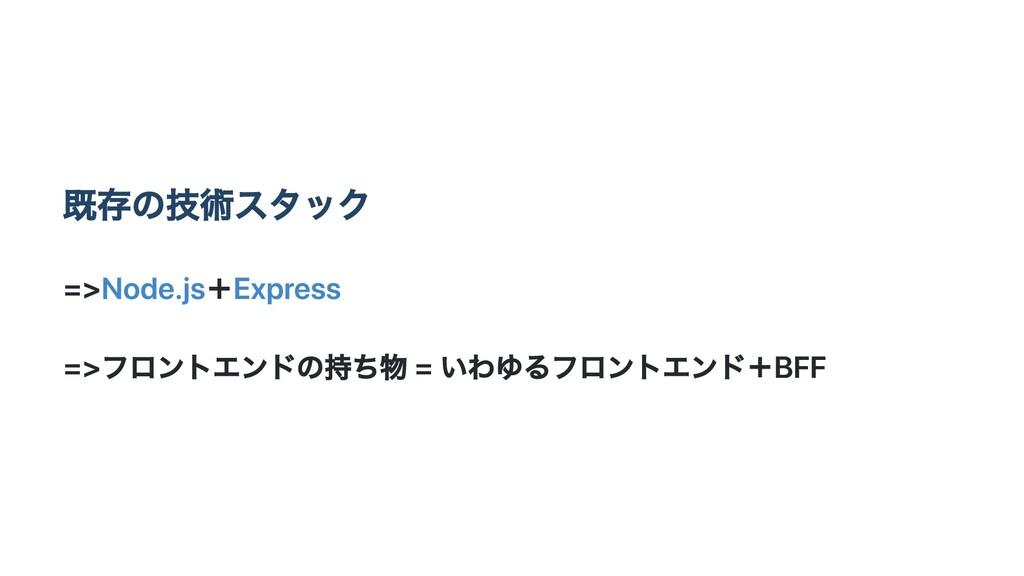 既存の技術スタック =>Node.js+Express =>フロントエンドの持ち物 = いわゆ...