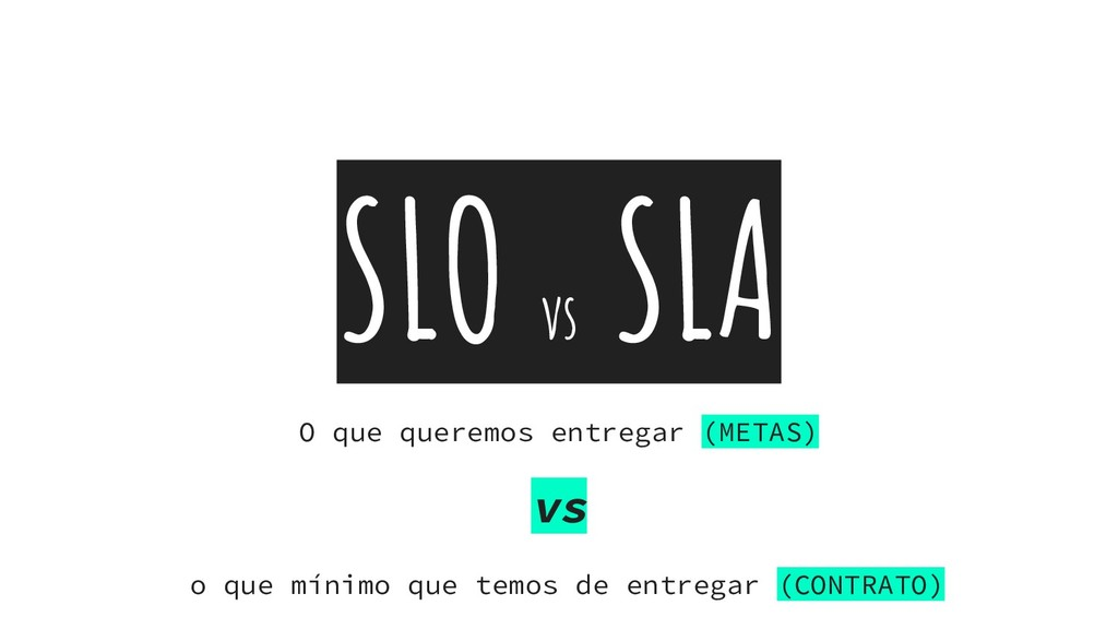 SLO vs SLA O que queremos entregar (METAS) vs o...