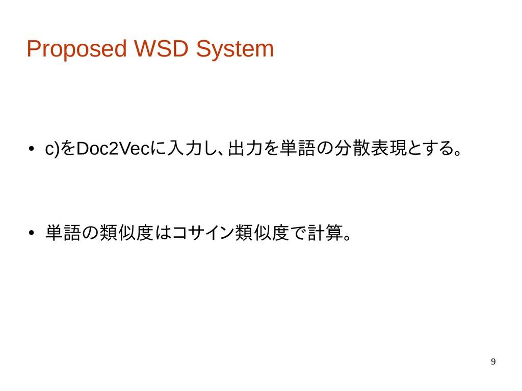 9 Proposed WSD System ● c)をDoc2Vecに入力し、出力を単語の分散...